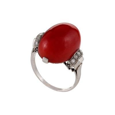 French Art Deco Red Coral Diamond and Platinum Ring