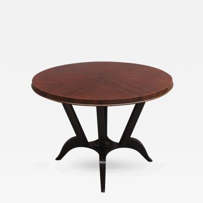 French Art Deco Rosewood Gueridon with a Four Curved Leg Pedestal