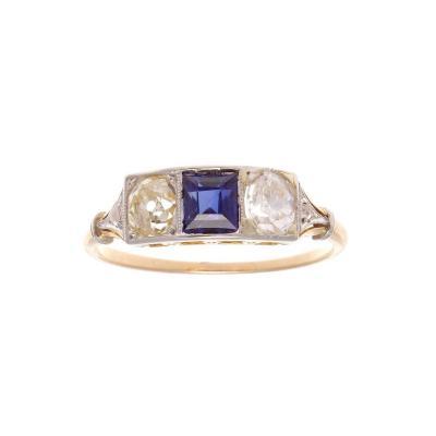 French Art Deco Sapphire Diamond Three Stone Gold Platinum Ring