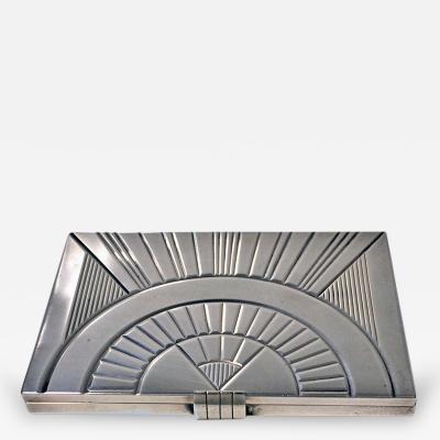 French Art Deco Silver Box Cigarette Case c 1930
