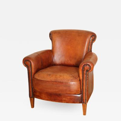 French Art Deco Style Library Leather Club Chair with Nailhead Details