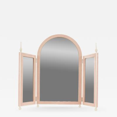 French Art Deco Style Pink Shagreen Table Top Triptych Dressing Table Mirror