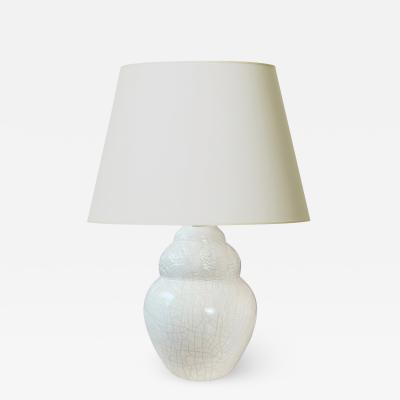 French Art Deco Table Lamp with Ivory Craquel Glaze