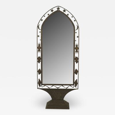 French Art Deco Wrought Iron Cheval Mirror