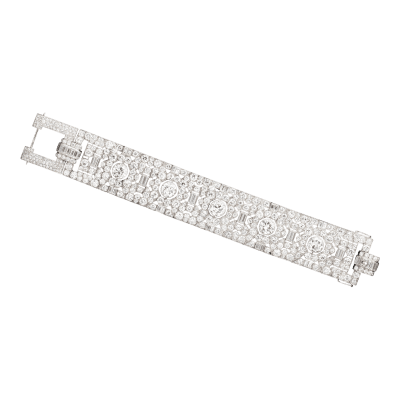 French Art Deco diamond bracelet in platinum circa 1920