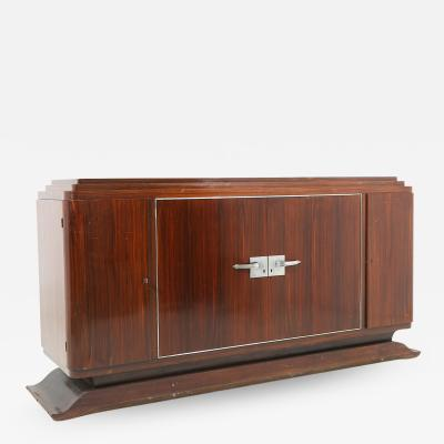 French Art Deco sideboard in macassar wood and chromed aluminium 1930s