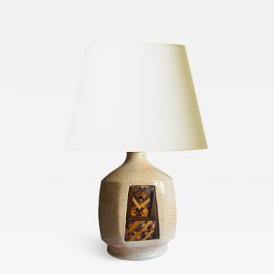 French Art Deco table lamp inlaid with a very fine geometric marquetry panel