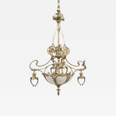 French Art Nouveau Bronze Dore Chandelier