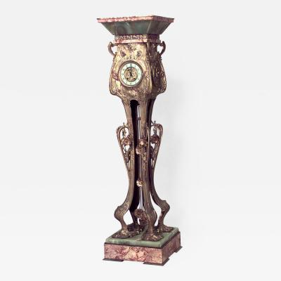French Art Nouveau Bronze Dore Grandfather Clock