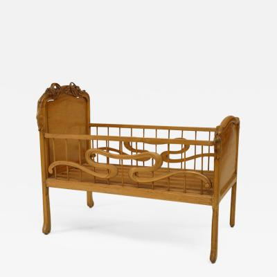 French Art Nouveau Carved Fruitwood Floral Design Crib