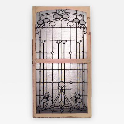French Art Nouveau Clear Textured Leaded Glass Double Hung Window