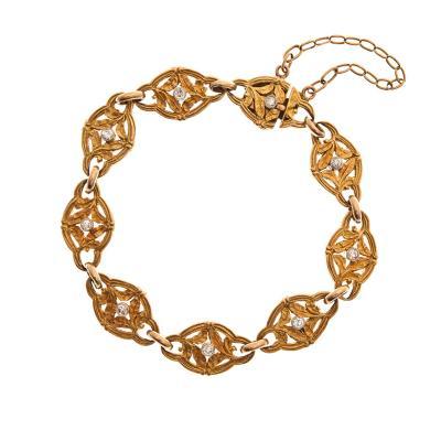 French Art Nouveau Diamond Yellow Gold Bracelet