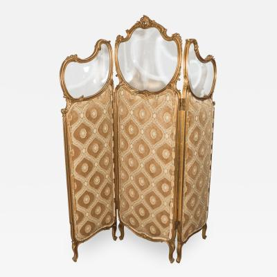 French Art Nouveau Gilt Wood Trifold Room Screen with Beveled Glass
