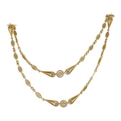 French Art Nouveau Gold Long Chain