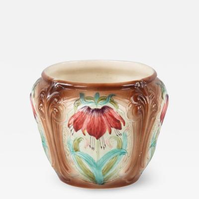 French Art Nouveau Orchies Majolica Cache Pot