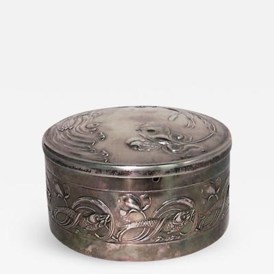 French Art Nouveau Silver Round Shaped Box
