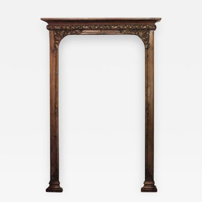 French Art Nouveau Walnut Narrow 3 Section Bookcase Archway
