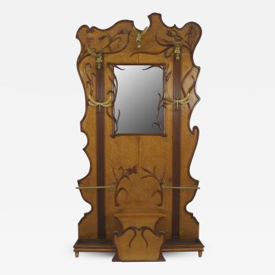 French Art Nouveau Walnut and Maple Hatrack with a Large Center Mirror
