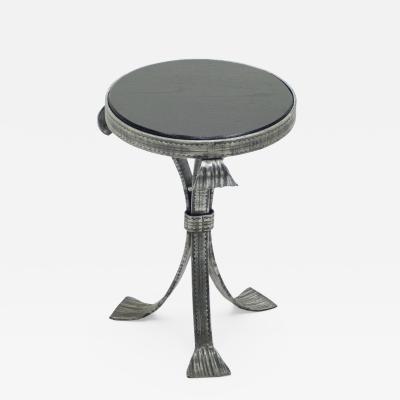 French Art deco wrought steel black oak gueridon 1940s