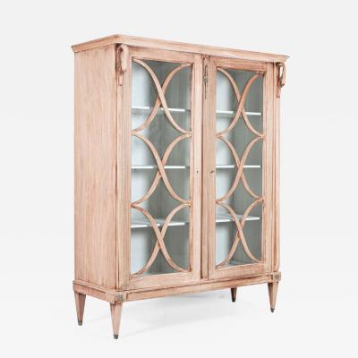 French Astral Glazed Bleached Mahogany Bookcase Vitrine