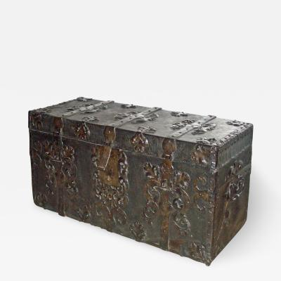 French Baroque 17th Century Iron Bound Leather Chest or Coffer