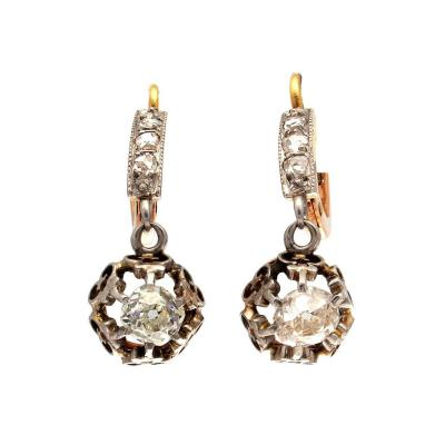 French Belle Epoque Diamond Platinum Gold Earrings