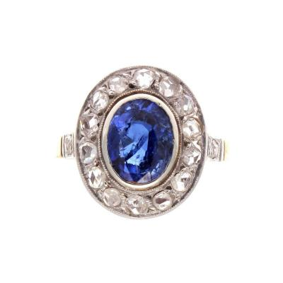 French Belle poque Sapphire Diamond Gold Ring