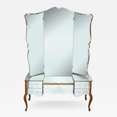 French Bevelled and Etched Mirrored Vanity