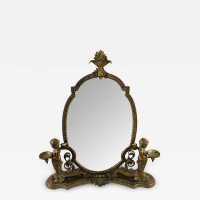 French Bonze Vanity Mirror with Cherubs candle holders