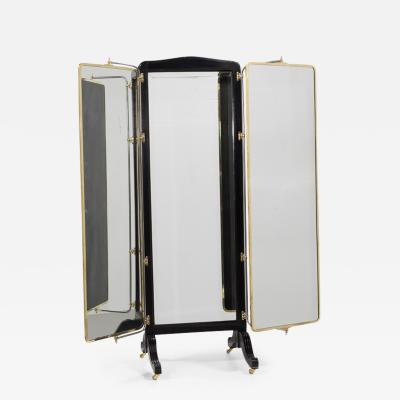 French Brass And Ebonised Wood Mirrored Screen circa 1890