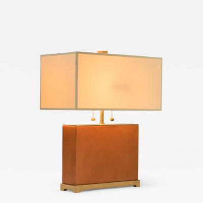 French Brass and Leather Lamp