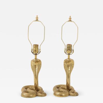 French Bronze Cobra Lamps