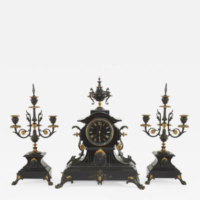French Bronze Marble Three Piece Clock Garniture Set