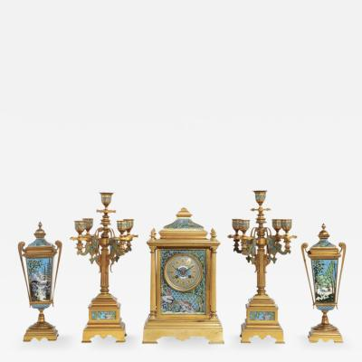 French Bronze and Champleve Cloisonne Enamel Five Piece Clock Garniture Set