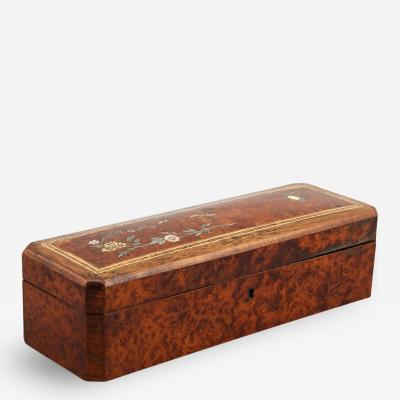 French Burl Wood Glove Box with Ivory and Mother of Pearl Inlay
