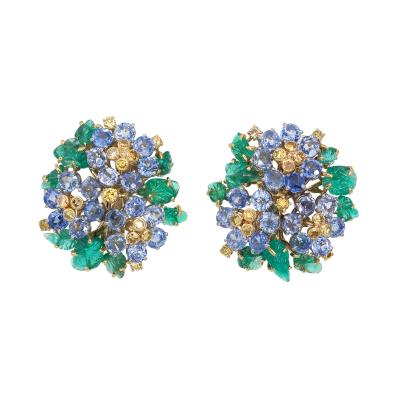 French Carved Emerald Yellow Blue Sapphire Earrings in 18K Gold
