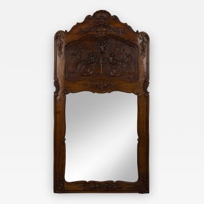 French Carved Walnut Trumeau Mirror