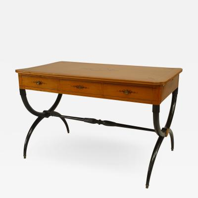 French Charles X Maple Cross Leg Table Desk