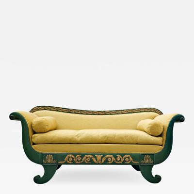 French Charles X Sofa Green And Gold Lacquered Wood