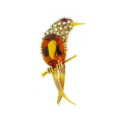 French Citrine and Diamond Bird Brooch