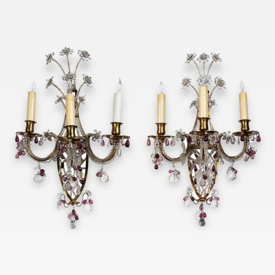 French Crystal Sconces circa 1910