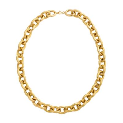 French Deco 18k Gold Link Necklace