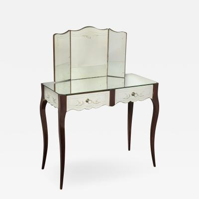 French Deco Mirrored Two Drawer Vanity or Poudr with Trifold Mirror