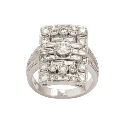 French Deco Style Platinum and Diamond Ring