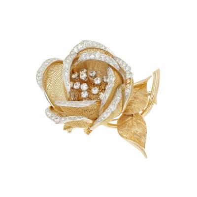 French Diamond En Tremblant Rose Flower Gold Brooch
