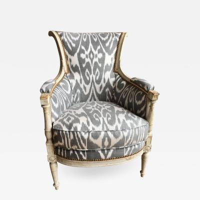 French Directoire Period Bergere in Ikat Fabric C 1800