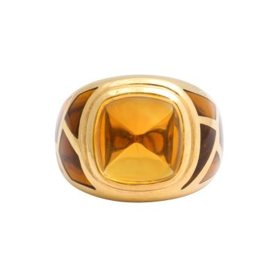 French Dome Citrine with Semi Precious Mosaic Design