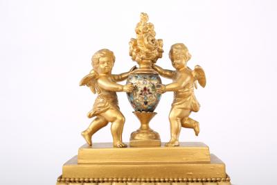 French Dore Bronze Mounted Champleve Garniture Set