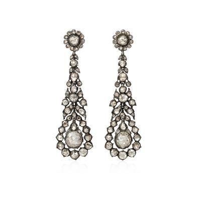 French Early 19th Century Rose Cut Diamond Pendant Earrings