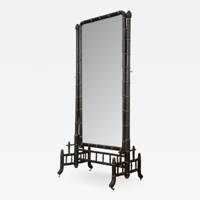 French Early 20th Century Faux Bamboo Cheval Mirror